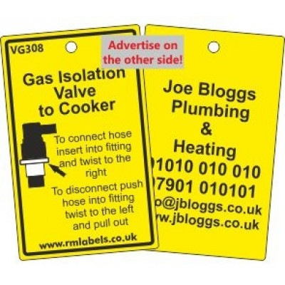 Gas Isolation Valve to Cooker Label and your details on reverse Code VG308A