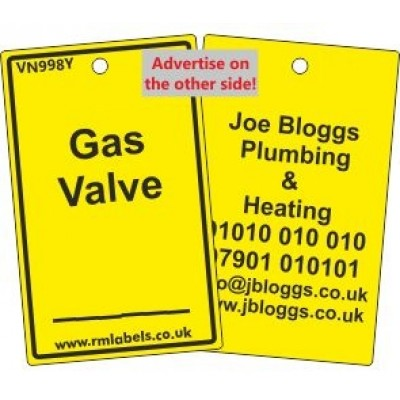 Gas Valve Label and your details on reverse Code VN998YA