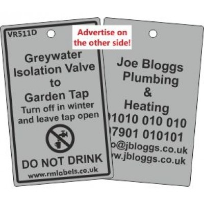 Greywater Isolation Valve to Garden Tap Label and your details on reverse Code VR511DA