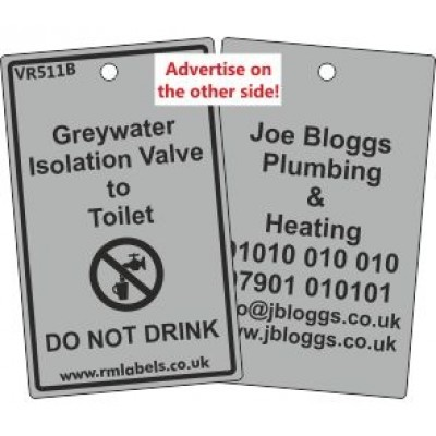 Greywater Isolation Valve to Toilet Label and your details on reverse Code VR511BA