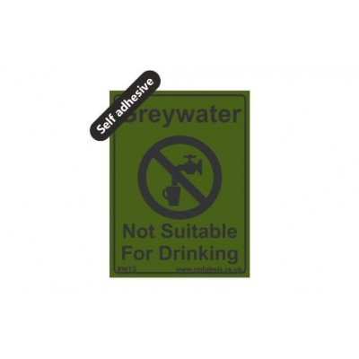 Greywater label 75x100mm Self Adhesive Code RW15SA