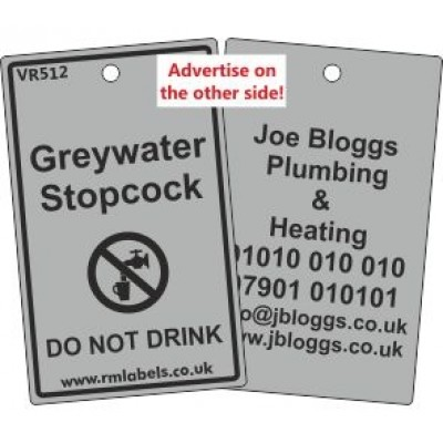 Greywater Stopcock Label and your details on reverse Code VR512A