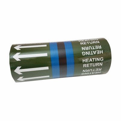 Heating Return Pipe Identification Tape with full colour banding for non potable water from public water supply - R M Labels