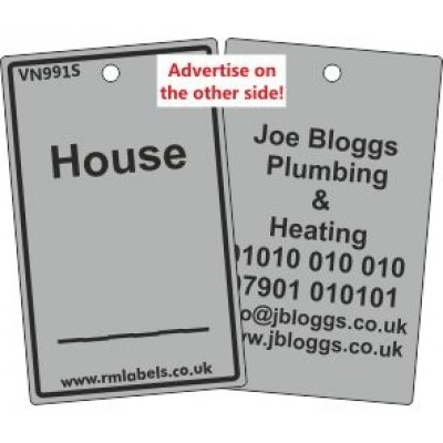 House Label in grey and your details on reverse Code VN991SA