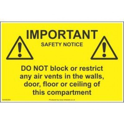 Important Safety Notice Air Vents Labels GAS02SA