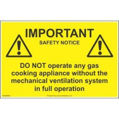 Important Safety Notice Do Not Operate Gas Appliance Label GAS08SA