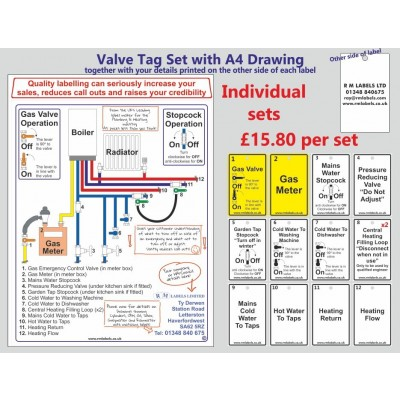 Combi Boiler 13 Personalised Valve Labels and 1 Personalised Drawing (1 set) Code CBS01P