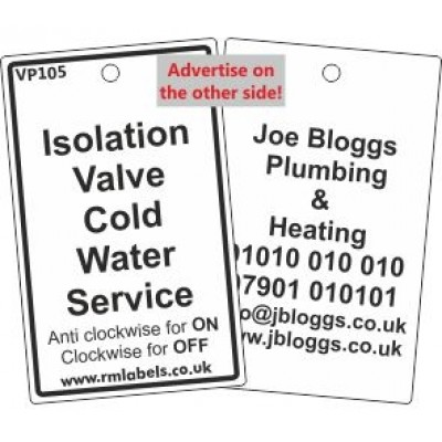 Isolation Valve Cold Water Service Label Code VP105