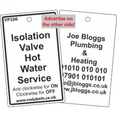 Isolation Valve Hot Water Service Label Code VP106