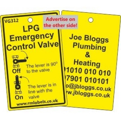 LPG Emergency Control Valve Label and your details on reverse Code VG312A