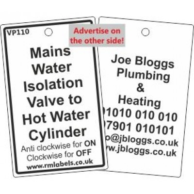 Mains Water Isolation Valve to Hot Water Cylinder Label Code VP110