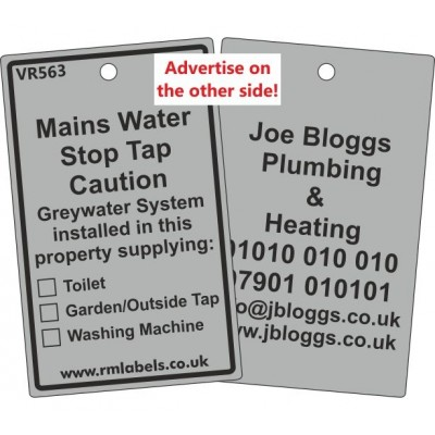 Mains Water Stop Tap Label and your details on reverse Code VR563A
