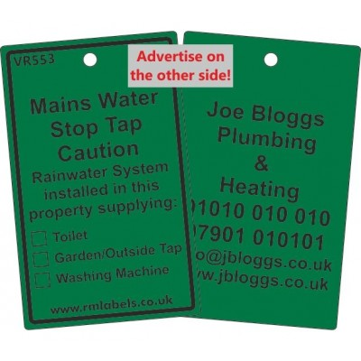 Mains Water Stop Tap Label for Rainwater and your details on reverse Code VR553REWA