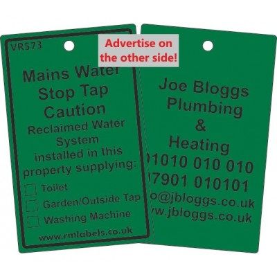 Mains Water Stop Tap Label for Reclaimed Water and your details on reverse Code VR573REWA