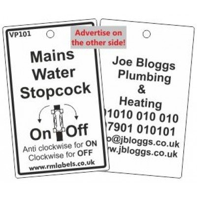Mains Water Stopcock Label with pictogram and your details on the reverse Code VP101A