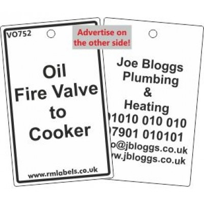 Oil Fire Valve to Cooker Label and your details on reverse Code VO752A