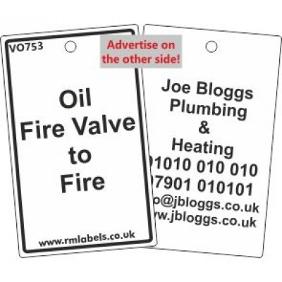 Oil Fire Valve to Fire Label and your details on reverse Code VO753A