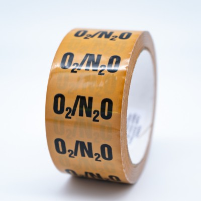 Oxygen and Nitrous Oxide Mixture Pipe Identification Tape - R M Labels - ID222T50YO