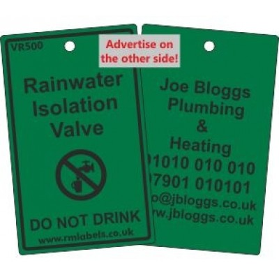 Rainwater Isolation Valve Label and your details on reverse Code VR500A