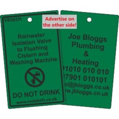Rainwater Isolation Valve to Flushing Cistern and Washing Machine Label and your details on reverse Code VR501HA