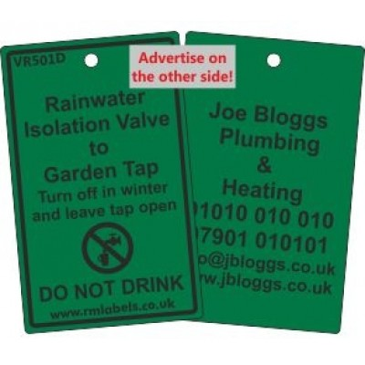 Rainwater Isolation Valve to Garden Tap Label and your details on reverse Code VR501DA