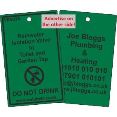 Rainwater Isolation Valve to Toilet and Garden Tap Label and your details on reverse Code VR501KA