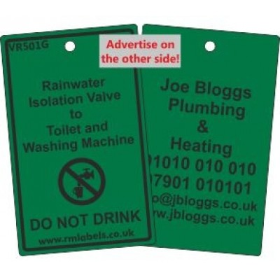 Rainwater Isolation Valve to Toilet and Washing Machine Label and your details on reverse Code VR501GA