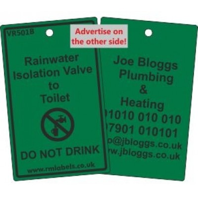 Rainwater Isolation Valve to Toilet Label and your details on reverse Code VR501BA