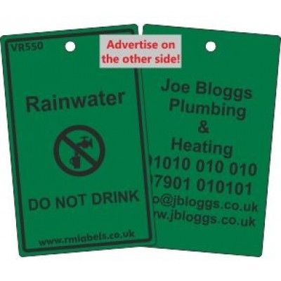 Rainwater Label and your details on reverse Code VR550A