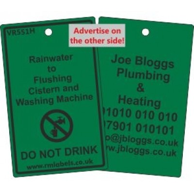 Rainwater to Flushing Cistern and Washing Machine Label and your details on reverse Code VR551HA