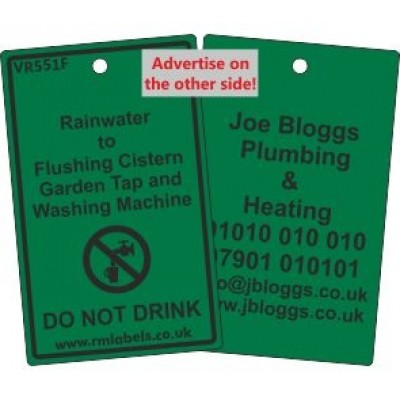 Rainwater to Flushing Cistern Garden Tap and Washing Machine Label and your details on reverse Code VR551FA