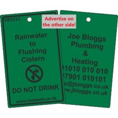 Rainwater to Flushing Cistern Label and your details on reverse Code VR551CA