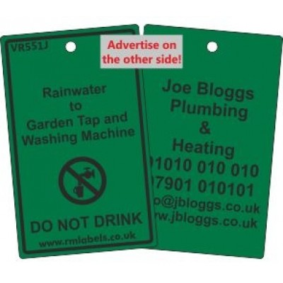 Rainwater to Garden Tap and Washing Machine Label and your details on reverse Code VR551JA