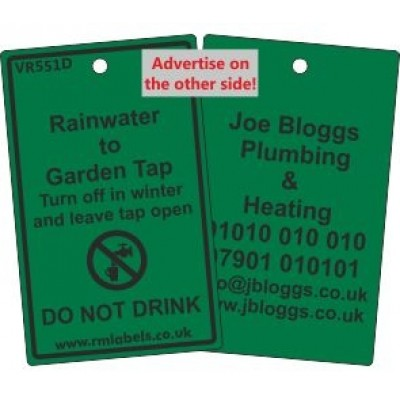 Rainwater to Garden Tap Label and your details on reverse Code VR551DA