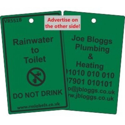 Rainwater to Toilet Label and your details on reverse Code VR551BA