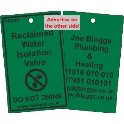 Reclaimed Water Isolation Valve Label and your details on reverse Code VR520A