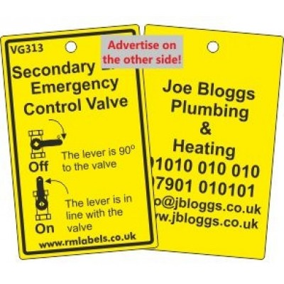 Secondary LPG Emergency Control Valve Label and your details on reverse Code VG313A