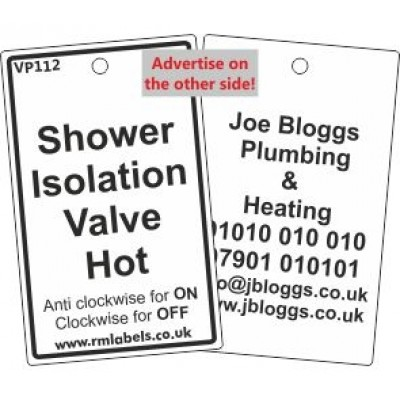 Shower Isolation Valve Hot Water Label Code VP112