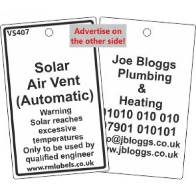Solar Air Vent (Automatic) Label and your details on reverse Code VS407A