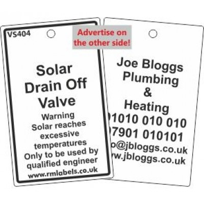 Solar Drain Off Valve Label and your details on reverse Code VS404A