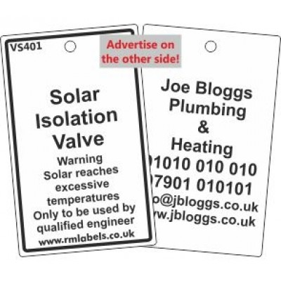 Solar Isolation Valve Label and your details on reverse Code VS401A