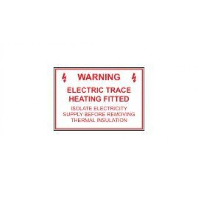 Warning Electric Trace Heating Fitted label 80x55mm Code SP01SA