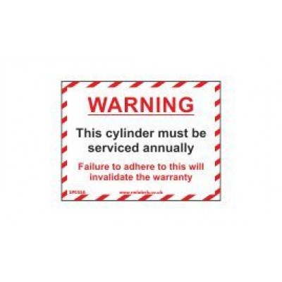 Warning Cylinder Serviced Annually label 100x75mm Code SP05SA