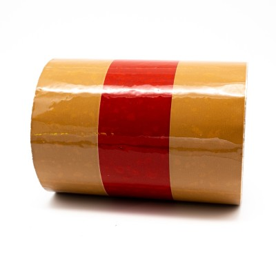 Yellow Ochre and Red Banded Pipe Identification Tape 150mm - R M Labels - ID500C150