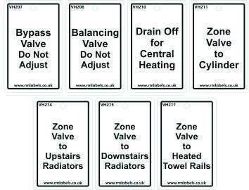 Heating System Tags with Boiler and Cylinder